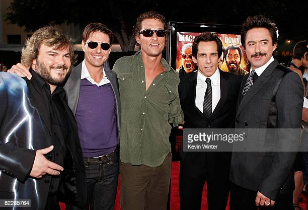 Actors Jack Black Tom Cruise Matthew McConaughey Ben Stiller and Robert Downey Jr arrive on the red carpet of the Los Angeles Premiere of Tropic...