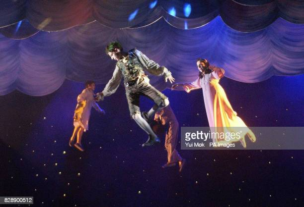 Actors Jack Blumenau who plays Peter Pan and Katie FosterBarnes who plays Wendy during a photocall for Peter Pan at the Savoy Theatre in central...