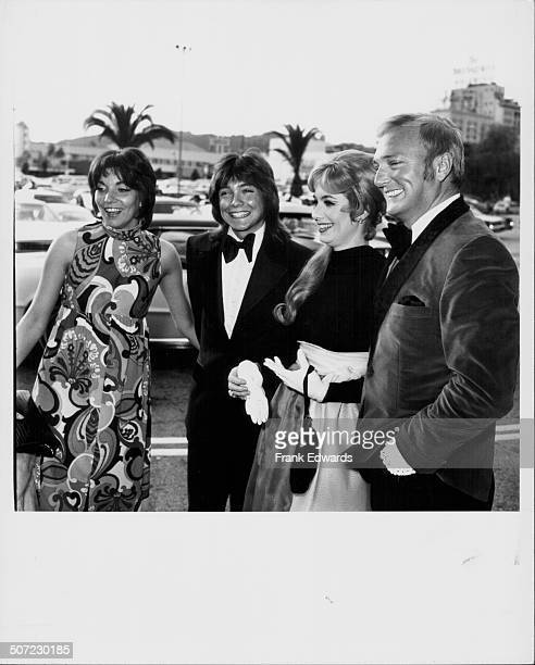 Actors Jack Cassidy and Shirley Jones with their son singer David Cassidy and his date Lynn Dubiou attending the Grammy Awards Los Angeles circa 1975