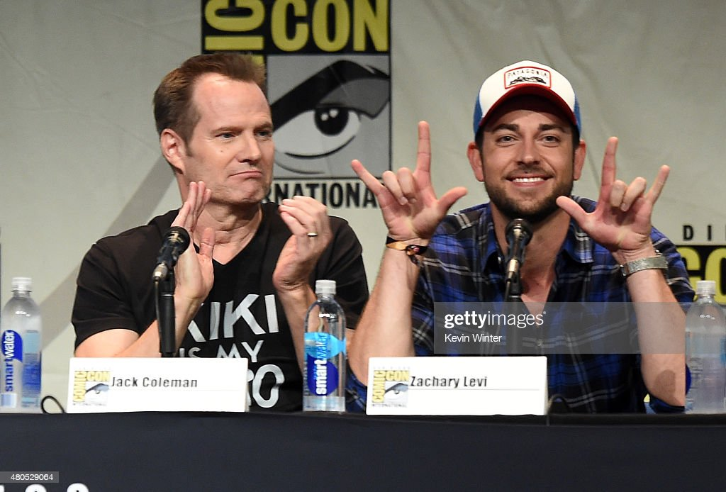 Actors Jack Coleman (L) and Zachary Levi speak onstage at the 'Heroes Reborn' exclusive extended trailer and panel during Comic-Con International 2015 at the San Diego Convention Center on July 12, 2015 in San Diego, California.