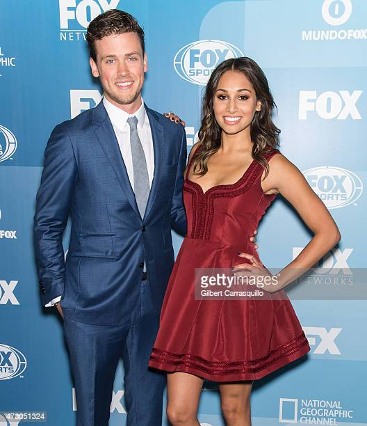 Actors Jack Cutmore-Scott and Meaghan Rath attend the 2015 FOX Programming Presentation at Wollman Rink, Central Park on May 11, 2015 in New York...