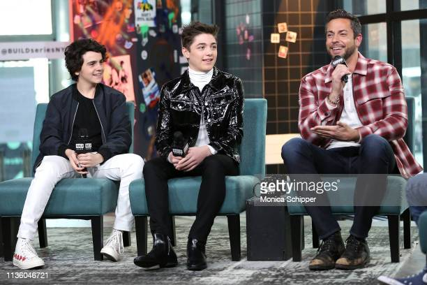 """Actors Jack Dylan Grazer, Asher Angel and Zachary Levi visit Build Studio to discuss their new film """"Shazam!"""" on March 15, 2019 in New York City."""