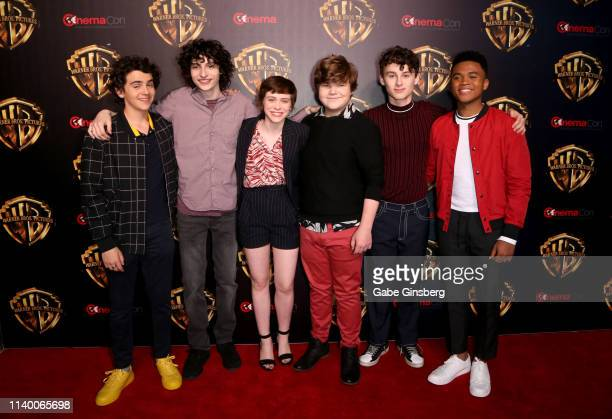 Actors Jack Dylan Grazer Finn Wolfhardactress Sophia Lillis actors Jeremy Ray Taylor Wyatt Oleff and Chosen Jacobs attend Warner Bros Pictures The...