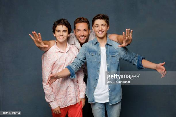 Actors Jack Dylan Grazer Zachary Levi and Asher Angel from 'Shazam' are photographed for Los Angeles Times on July 21 2018 in San Diego California...