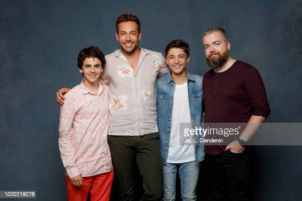 Actors Jack Dylan Grazer Zachary Levi Asher Angel and director David Sandberg from 'Shazam' are photographed for Los Angeles Times on July 21 2018 in...