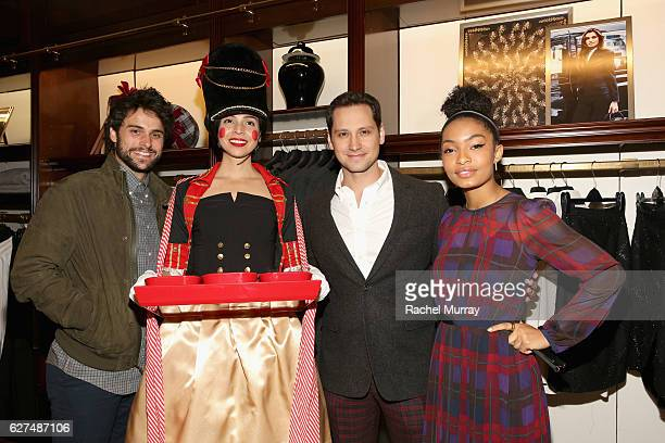 Actors Jack Falahee Matt McGorry and Yara Shahidi attend Brooks Brothers holiday celebration with St Jude Children's Research Hospital on December 3...
