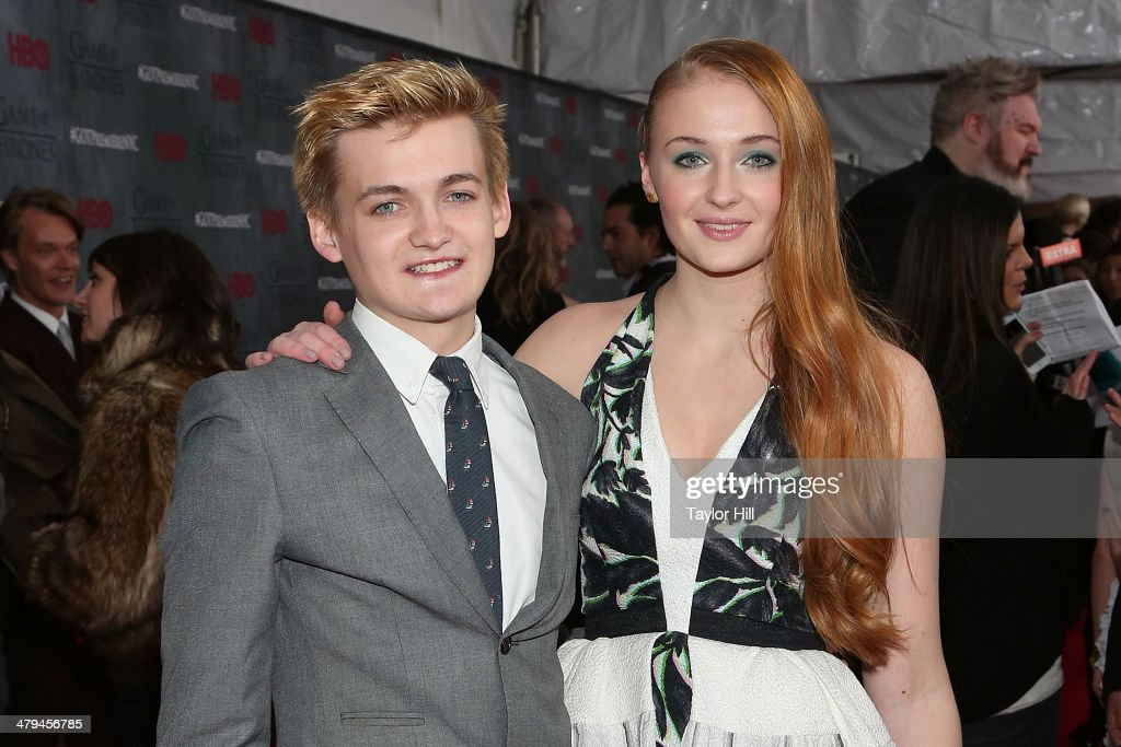 Actors Jack Gleeson and Sophie Turner attend the 'Game Of Thrones' Season 4 premiere at Avery Fisher Hall, Lincoln Center on March 18, 2014 in New York City.