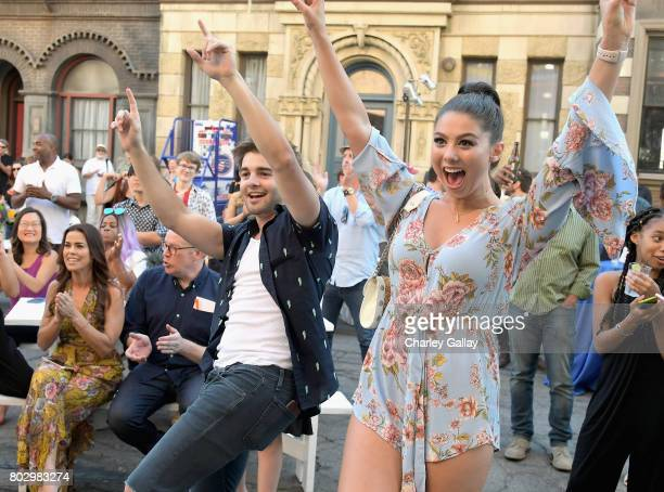 Actors Jack Griffo and Kira Kosarin celebrate the 100th episode of Nickelodeon's The Thundermans at Paramount Studios on June 28 2017 in Hollywood...