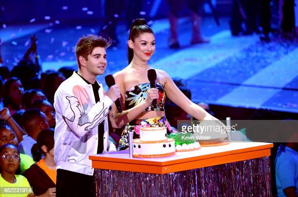 Actors Jack Griffo and Kira Kosarin speak onstage at Nickelodeon's 2017 Kids' Choice Awards at USC Galen Center on March 11, 2017 in Los Angeles,...