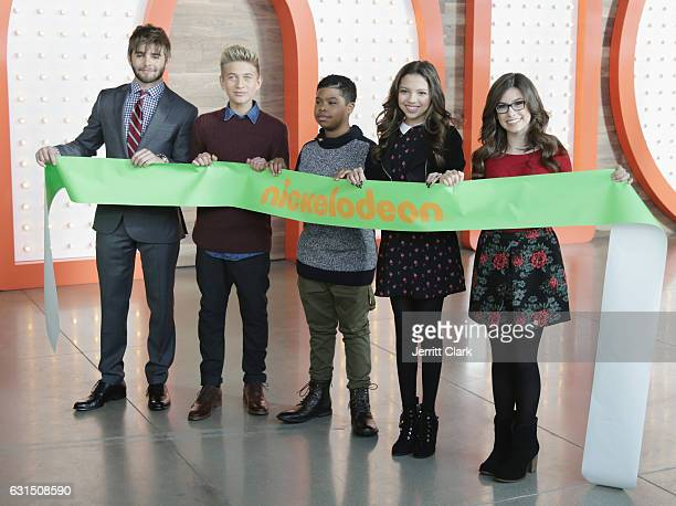 Actors Jack Griffo from The Thundermans Thomas Kuc Benjamin Flores Jr Cree Cicchino and Madisyn Shipman from Game Shakers attend a Ribbon Cutting...