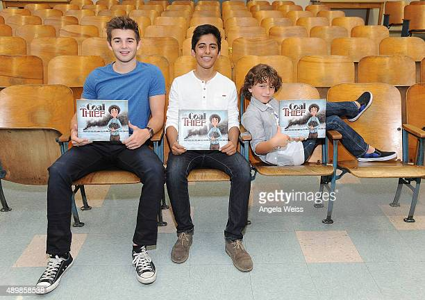 Actors Jack Griffo Karan Brar and August Maturo attend the SAG Foundation and Rise Up Foundation Read to Me Challenge at Coldwater Canyon Elementary...