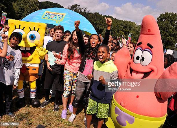 Actors Jack Griffo Kira Kosarin Sydney Park and Tylen Jacob Williams attend Nickelodeon's 11th Annual Worldwide Day of Play at Prospect Park on...