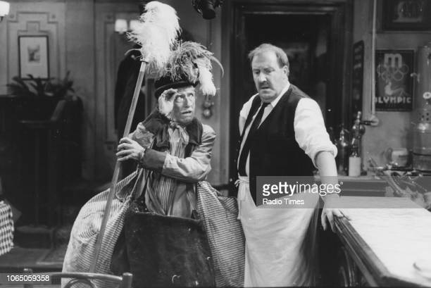 Actors Jack Haig and Gordon Kaye in a scene from episode 'Going Like a Bomb' of the television sitcom ''Allo 'Allo' May 27th 1988