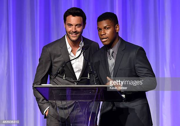 Actors Jack Huston and John Boyega accept grant on behalf of Exceptional Minds Ensemble Studio Theatre and Gingold Theatrical Group onstage during...