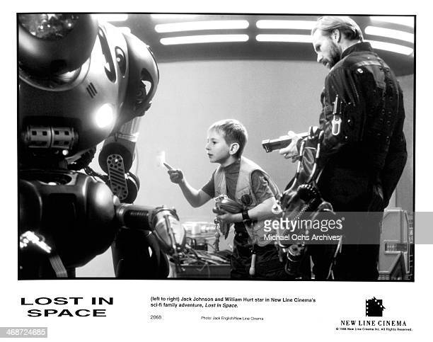 Actors Jack Johnson and William Hurt on set of the New Line Cinema movie ' Lost in Space ' circa 1998