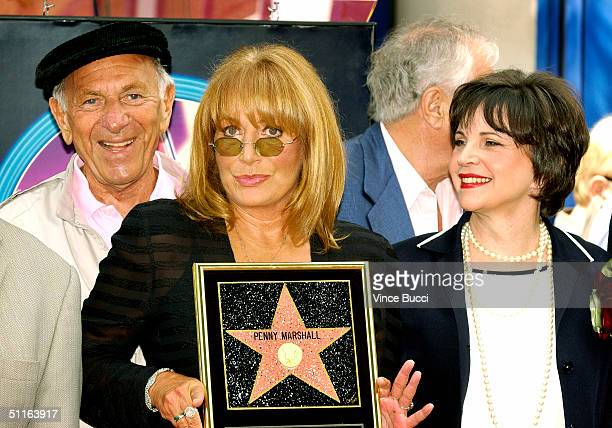 Actors Jack Klugman Penny Marshall and Cindy Williams attend the ceremony honoring each actress with a star on the Hollywood Walk of Fame on August...