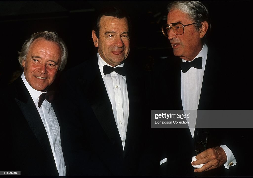 Actors Jack Lemmon, Walter Matthau, and Gregory Peck pose for a portrait in 1986 in Los Angeles, California.