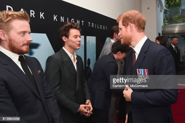 Actors Jack Lowden and Harry Styles are greeted by Prince Harry at the 'Dunkirk' World Premiere at Odeon Leicester Square on July 13 2017 in London...