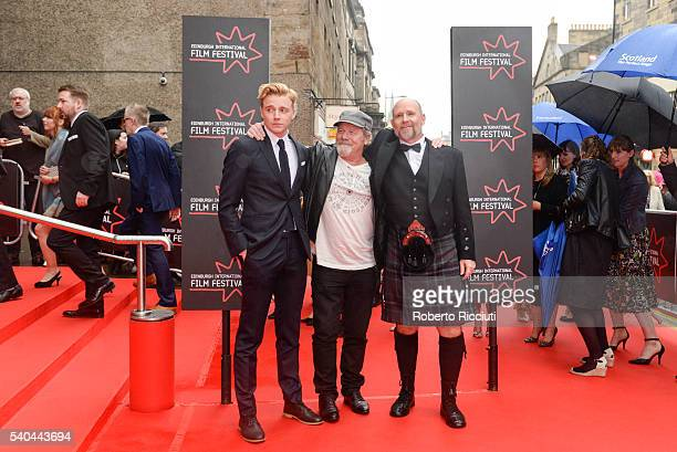 Actors Jack Lowden Peter Mullan and director Jason Connery attend the screening of Tommy's Honour and opening gala of the Edinburgh International...
