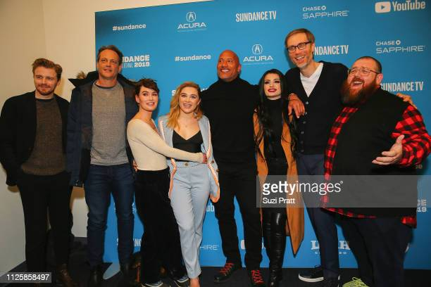 Actors Jack Lowden Vince Vaughn Lena Headey Florence Pugh Dwayne Johnson Paige executive producer Stephen Merchant and actor Nick Frost pose for a...
