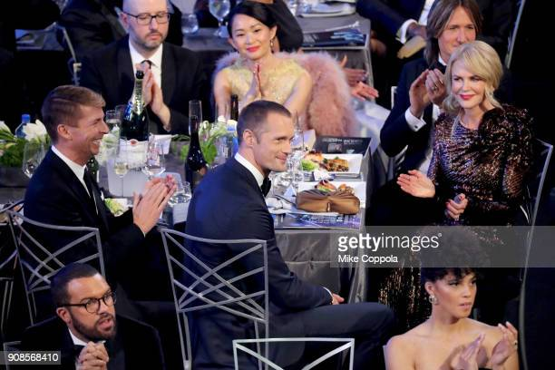 Actors Jack McBrayer Alexander Skarsgard Nicole Kidman and musician Keith Urban attend the 24th Annual Screen Actors Guild Awards at The Shrine...