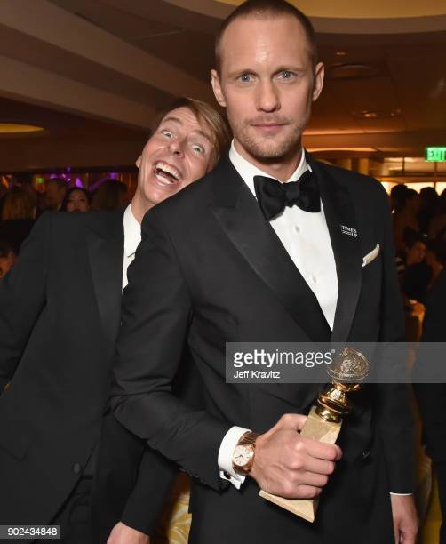 Actors Jack McBrayer and Alexander Skarsgård attend HBO's Official 2018 Golden Globe Awards After Party on January 7 2018 in Los Angeles California