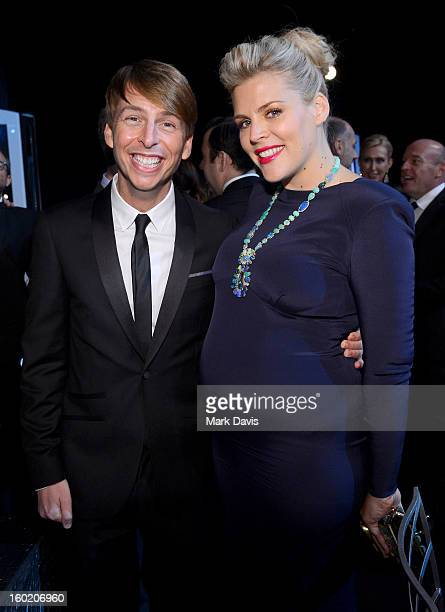 Actors Jack McBrayer and Busy Philipps attend the 19th Annual Screen Actors Guild Awards cocktail reception at The Shrine Auditorium on January 27...