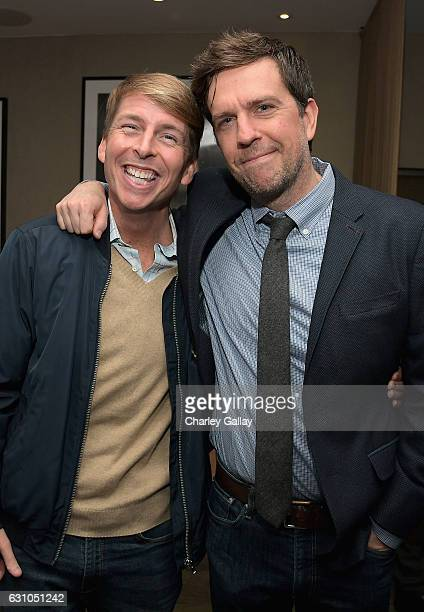 Actors Jack McBrayer and Ed Helms attend a reception to honor ZOOTOPIA screenwriters Jared Bush and Phil Johnston at Cavatina at Sunset Marquis Hotel...