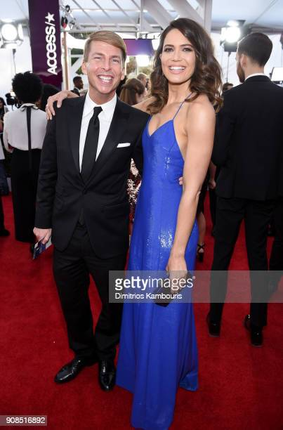 Actors Jack McBrayer and Mandy Moore attend the 24th Annual Screen Actors Guild Awards at The Shrine Auditorium on January 21 2018 in Los Angeles...