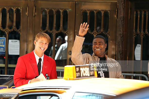 Actors Jack McBrayer and Tracy Morgan on location for 30 Rock on the streets of Manhattan on August 27 2010 in New York City