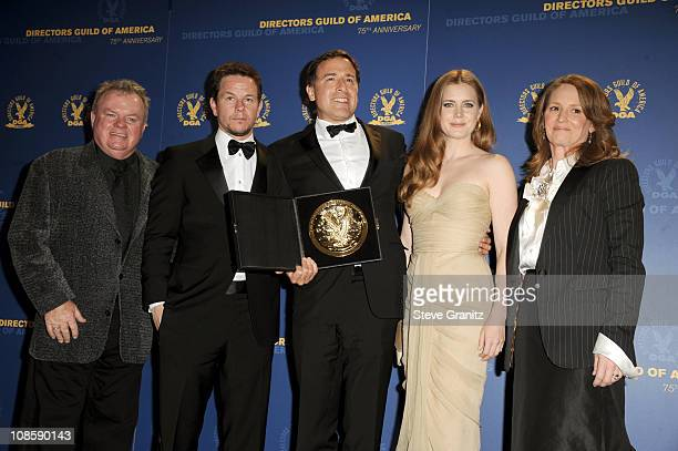 Actors Jack McGee and Mark Wahlberg director David O Russell and actors Amy Adams and Melissa Leo pose in the press room during the 63rd Annual DGA...