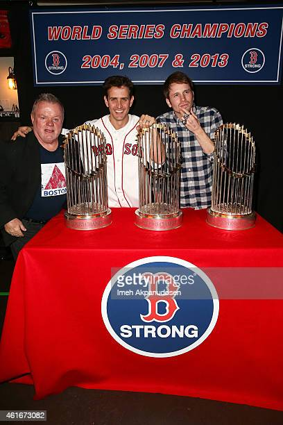 Actors Jack McGee Joey McIntyre and Tyler Ritter attend a Red Sox charity event to benefit The Jimmy Fund Children's Hospital LA's Cancer Researchers...