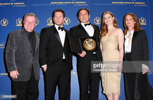 Actors Jack McGee Mark Wahlberg Director David O Russell recipient of the Feature Film Nomination Plaque for The Fighter actresses Amy Adams and...