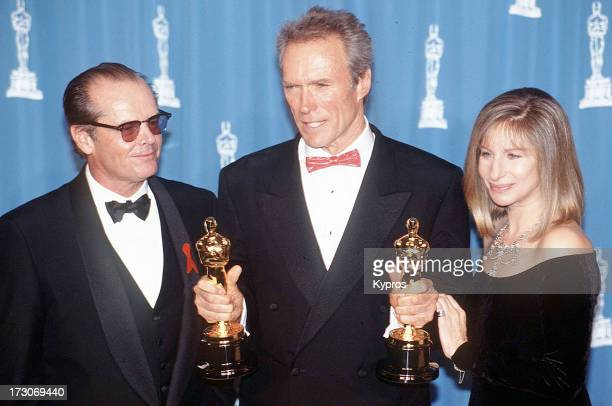 Actors Jack Nicholson and Clint Eastwood and actress and singer Barbra Streisand at the 5th Annual Academy Awards USA 29th March 1993