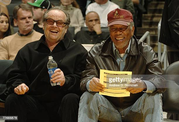 Actors Jack Nicholson and Morgan Freeman sit courtside as the Los Angeles Lakers play the Milwaukee Bucks November 28 2006 at Staples Center in Los...