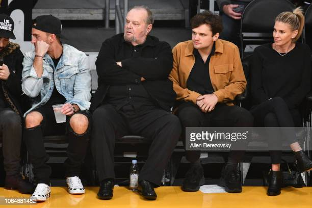 Actors Jack Nicholson and Ray Nicholson attend a basketball game between the Los Angeles Lakers and and the Minnesota Timberwolves at Staples Center...