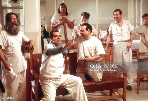 Actors Jack Nicholson Danny Devito and Brad Dourif perform in scene from movie One Flew Over The Cuckoo's Nest directed by Milos Foreman Winner of...