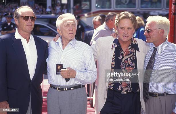 Actors Jack Nicholson Kirk Douglas and Michael Douglas attend Michael Douglas Hand And Footprint Ceremony on September 10 1997 at Mann Chinese...