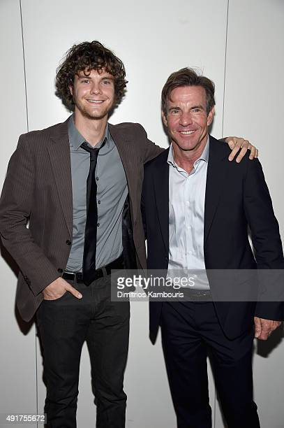 "Actors Jack Quaid and Dennis Quaid attend the Armani and Cinema Society Screening of Sony Pictures Classics' ""Truth"" after party at Armani Ristorante..."
