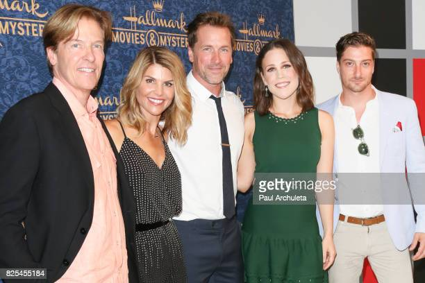 Actors Jack Wagner Lori Loughlin Paul Greene Erin Krakow and Daniel Lissing attends the premiere of Hallmark Movies Mysteries' 'Garage Sale Mystery'...