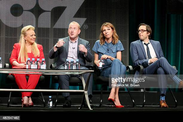 Actors Jacki Weaver Adrian Scarborough Dolly Wells and Timm Sharp speak onstage during the 'Blunt Talk' panel discussion at the STARZ portion of the...