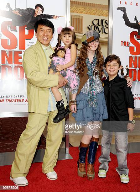 Actors Jackie Chan Alina Foley Madeline Carroll and Will Shadley arrive at the premiere of Lionsgate and Relativity Media's 'The Spy Next Door' at...