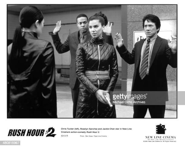 Actors Jackie Chan and Chris Tucker and actress Roselyn Sanchez in a scene from the New Line Cinema movie Rush Hour 2 circa 2001