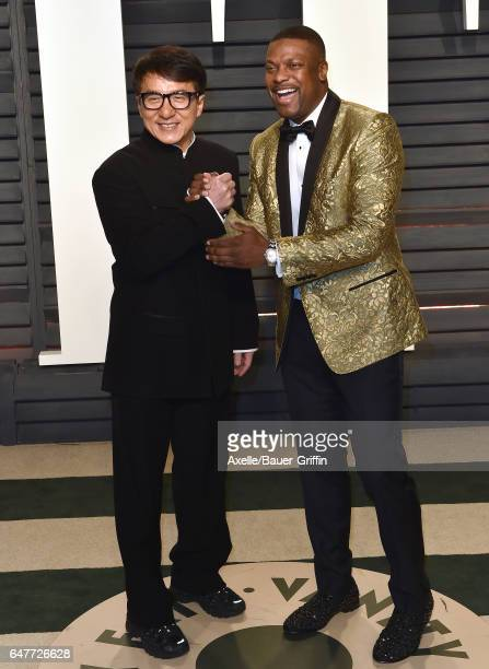 Actors Jackie Chan and Chris Tucker arrive at the 2017 Vanity Fair Oscar Party Hosted By Graydon Carter at Wallis Annenberg Center for the Performing...