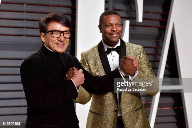 Actors Jackie Chan and Chris Tucker attend the 2017 Vanity Fair Oscar Party hosted by Graydon Carter at Wallis Annenberg Center for the Performing...