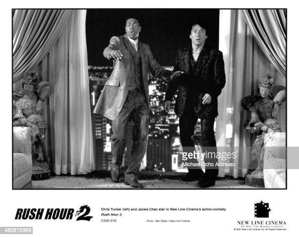 Actors Jackie Chan and Chris Tucker in a scene from the New Line Cinema movie Rush Hour 2 circa 2001