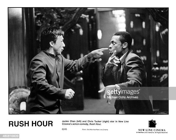 Actors Jackie Chan and Chris Tucker in a scene from the New Line Cinema movie Rush Hour circa 1998