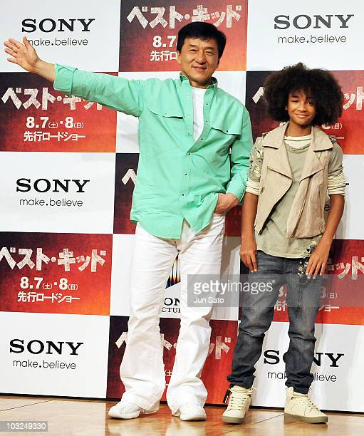 Actors Jackie Chan and Jaden Smith attend a The Karate Kid press conference at The Ritz Carlton Tokyo on August 5 2010 in Tokyo Japan The film will...