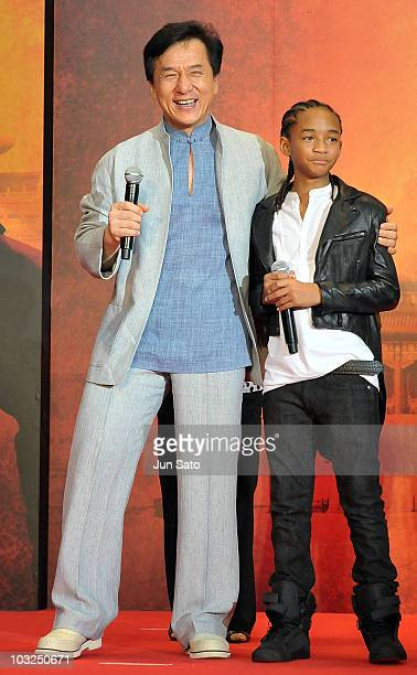 Actors Jackie Chan and Jaden Smith attend The Karate Kid movie premier at Roppongi Hills Arena on August 5 2010 in Tokyo Japan The film will open in...