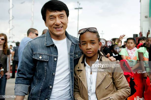 Actors Jackie Chan and Jaden Smith walk the red carpet at a special screening of their new movie Karate Kid at the Cinemark 17 on May 27 2010 in...